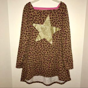 💖Lands' End animal print dress with gold star 🌟